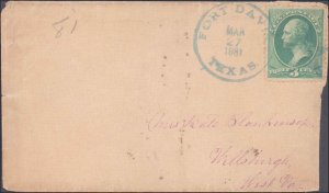Jeff Davis County Fort Davis Forwarded Missing 3cent Stamp ( Postal History )...