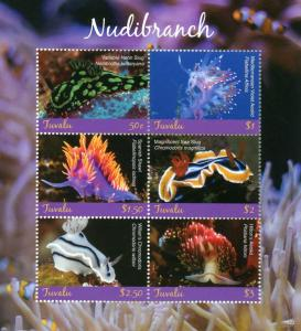 Tuvalu Marine Animals Stamps 2018 MNH Nudibranch Sea Neon Slug Aeolid 6v M/S
