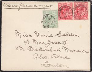 Great Britain Sc 128, 143 on 1908 Mourning Cover