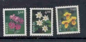 Norway Sc 1210-12 1999 Flowers stamp set