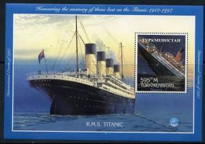 TURKMENISTAN 1997 HONORING THE MEMORY OF THOSE LOST ON THE   TITANIC  S/S MINT