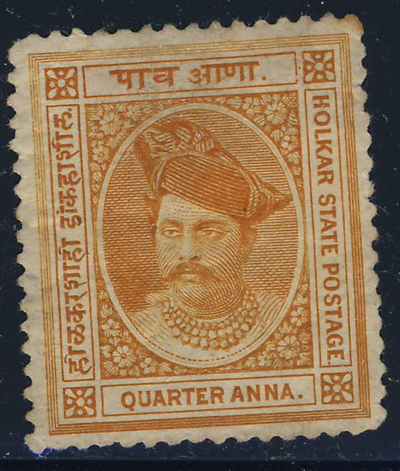 INDIA / Indore. - 1892 - SG 5 1/4 a. Orange p.14 3/4 Mint hinged