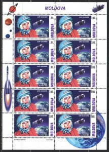 Moldova. 2001. Small sheet 383. Gagarin, space. MNH.
