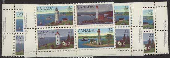 Canada - 1984 Lighthouses Imprint Blocks mint #1035a