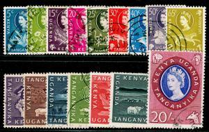 KENYA UGANDA TANGANYIKA  SG183-198, COMPLETE SET, FINE USED, CDS. Cat £40.