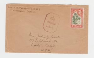 CEYLON -USA 1942? CENSOR COVER (CROWN PASSED L/GA) 5c RATE (SEE BELOW)