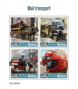 MALDIVES - 2019 - Mail Transport  - Perf 4v Sheet - MNH