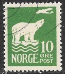NORWAY 1925 10o POLAR BEAR and Airplane Issue Sc 107 VFU