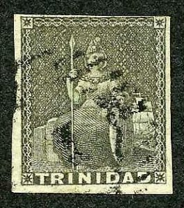 Trinidad SG5 (1d) Grey on blue paper Cat 70 pounds