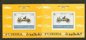 Fujeira The First Ford 1896 Perf & Imperf Souvenir Sheets Mint Hinged