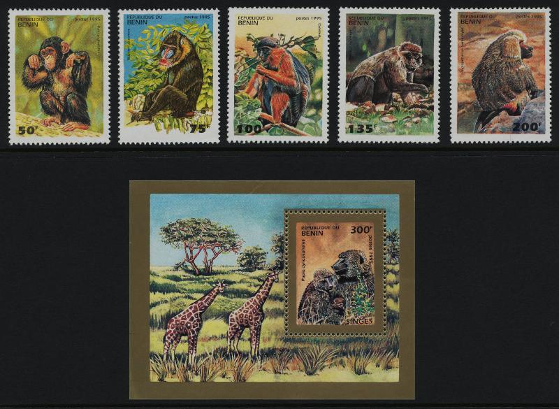 Benin 755-60 MNH - Animals, Monkeys, Primates