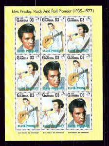 Gambia 1347 MNH 1992 Elvis Presley sheet of 9