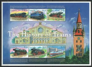 PK334 GRENADA RAILWAY TRANSPORT THE HISTORY OF TRAINS 1KB MNH STAMPS