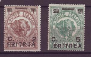 J21227 Jlstamps 1922 eritrea mh #58-9 elephant ovpt,s