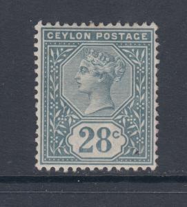 Ceylon Sc 139 MLH. 1886 28c slate Queen Victoria, F-VF