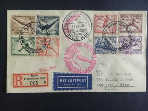 1936 Germany Hindenburg Zeppelin Olympics Cover to USA Full set # B82-B89 LZ 129