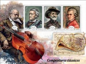 Guinea-Bissau 2014 GREAT COMPOSERS MOZART WAGNER VERDI Perforated Mint (NH)