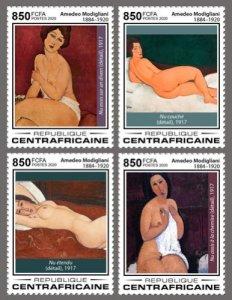 C A R - 2020 - Amedeo Modigliani, 100th Death Anniv - Perf 4v Set  - M N H