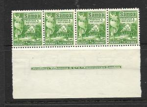 SAMOA  1921  1/2d    HUT    MNH   IMPRINT  STRIP  4     SG 153