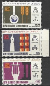 New Hebrides British 120-2  MNH  UNESCO 20th Anniversary