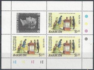 Barbuda  383 Sheet of 3  MNH  Sir Rowland Hill Centenary
