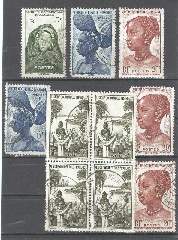 French West Africa 1947,6 Stamps+ Block 54,Sc 49-50,53-54,Postmark USED (FC-5)