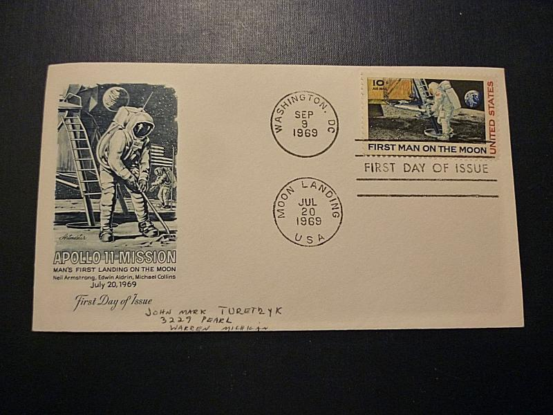 APOLLO 11 MOON LANDING COVER JULY 20, 1969 POSTMARK ON #C76 FIRST DAY COVER