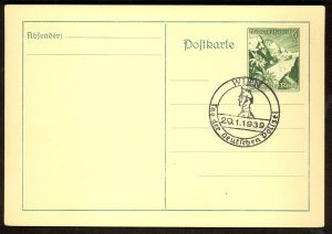 GERMANY USED IN AUSTRIA 1939 6+4pf Sc AB126 on Card w DAY OF THE GERMAN POLICE