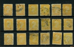 One 1c Cent Small Queen lot various cancels and shades Canada used
