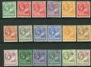 ANTIGUA-1921-9  A mounted mint Multi Script set to 4/- Sg 62-80