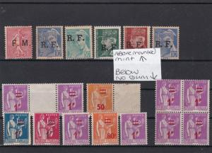 France R.F. and Surcharge Stamps Ref 31730