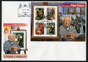 SAO TOME 2021 140th ANNIVERSARY OF PABLO PICASSO PAINTINGS SHEET FDC