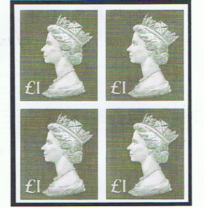 GREAT BRITAIN 1970/72 £1 IMPERFORATE BLOCK OF FOUR