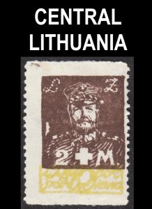 Central Lithuania Scott B19 IMPERFORATED AT TOP & BOTTOM ERROR Fine mint HR.