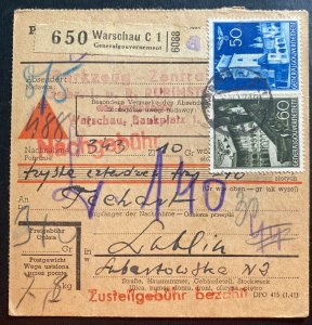 1942 Warsaw Ghetto Poland GG Germany Parcel Receipt Cover To Lublin
