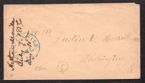 **US Stampless Cover, New Castle, PA 7/8 Blue CDS 1856 to Senator Morrill, VT