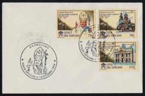 Vatican 1012-4 on FDC - Pope John Paul II, Wawel Cathedral, Basillica of St John