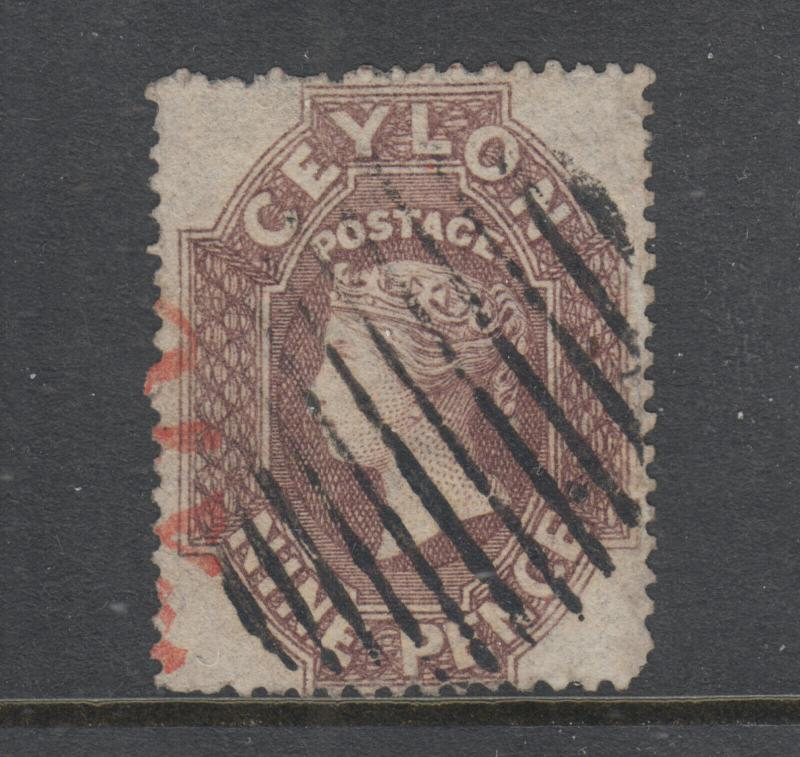 Ceylon SG 25, Sc 22 used. 1861 9p lilac brown QV, black & red cancels, sound