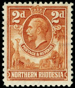 NORTHERN RHODESIA SG4, 2d 1d brown, LH MINT.