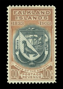 FALKLAND ISLANDS 1933 Centenary  Coat of Arms 10/-   Scott # 75 (SG 137) mint MH