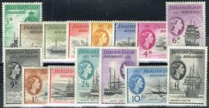 Falkland Is Dep 1954 set of 15 SGG26-G40 Fine & Fresh Lightly Mtd Mint