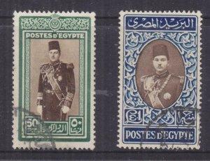 EGYPT, 1939 King Farouk 50p. & One Pound, used.