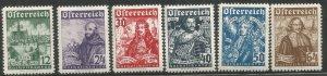 AUSTRIA  B112-B117  HINGE REMNANT,  1933 ISSUE