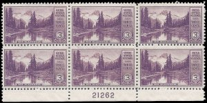 #742 3c National Parks Mt Rainier and Mirror Lake PB/6 1934 Mint NH