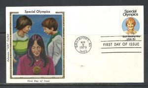US #1788 Special Olympics Colorano silk cachet