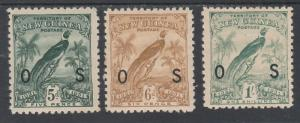 NEW GUINEA 1931 DATED BIRD OS 5D 6D AND 1/-