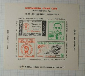 Wilkinsburg PA Stamp Club Honor Events of 1960 Philatelic Souvenir Ad Label