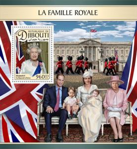 Djibouti 2016 MNH Royal Family Queen Elizabeth II William & Kate 1v S/S Stamps