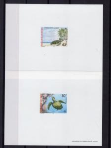 Wallis and Futuna 1997 Sc#496/497 GREEN LAGOON TURTLES 2 DELUXE SS