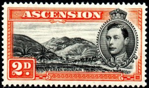 1938 Ascension Sg 41 2d black and red-orange (perf 13½) Mounted Mint